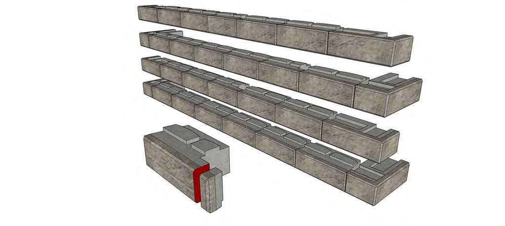 Double Outside 90-degree Corners When building a wall with a section that is terminated on each end with an outside 90-degree corner, start by placing the corners in their proper location and