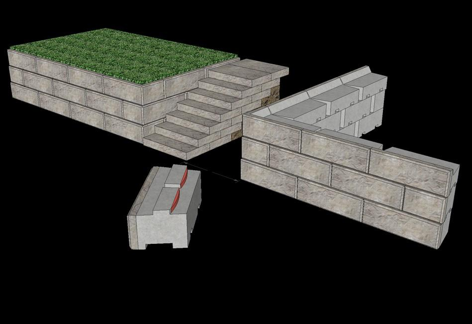 Steps There are numerous configurations that incorporate steps into a retaining wall. The most common is where the steps begin at the base of the wall and go up through the wall to the top grade.