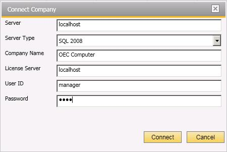 In the Connect Company window, specify the information of the company from which you want to connect, and then choose the Connect button.