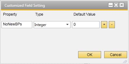 Choose the Customized Fields field to open the Customized Field Setting window.
