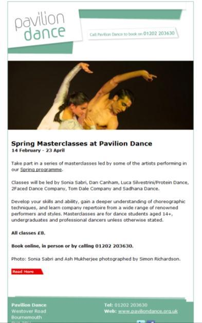 40 6 42 31 25 74 0 10 20 30 40 50 60 70 80 Spring Masterclasses www.paviliondance.org.