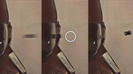 Photo 8 (left) shows a highspeed video still progression of lens deformation due to impact by a jacketed BB.