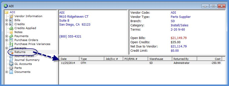 Entering Credits A Vendor Credit is a Credit Memo provided to your company from a Vendor.