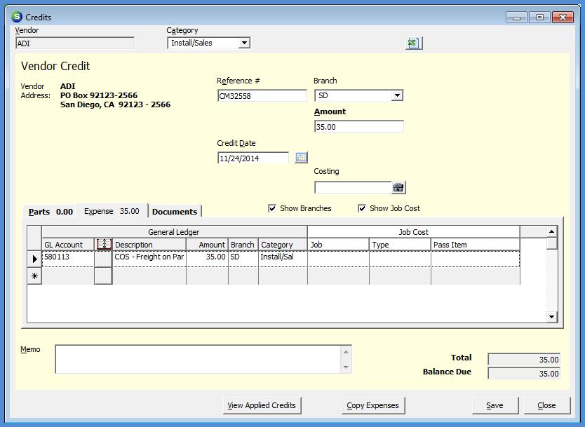 Accounts Payable module, or within the Vendor