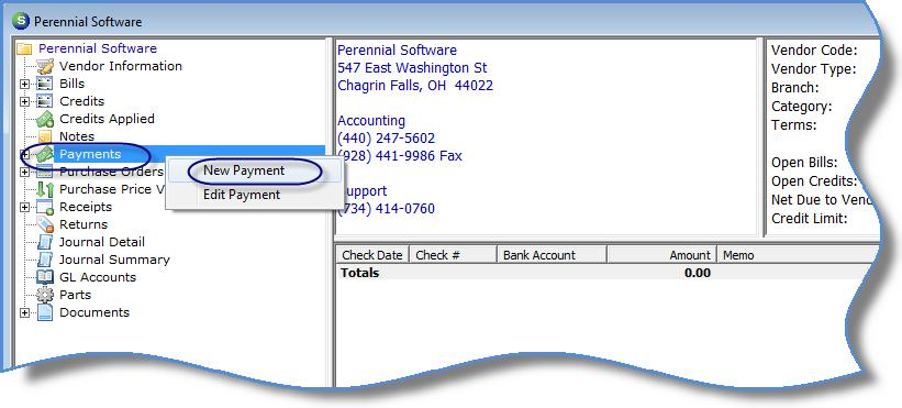 Paying a Single Vendor Individual payments may be created from a Vendor Explorer record or by using the Write Checks function within