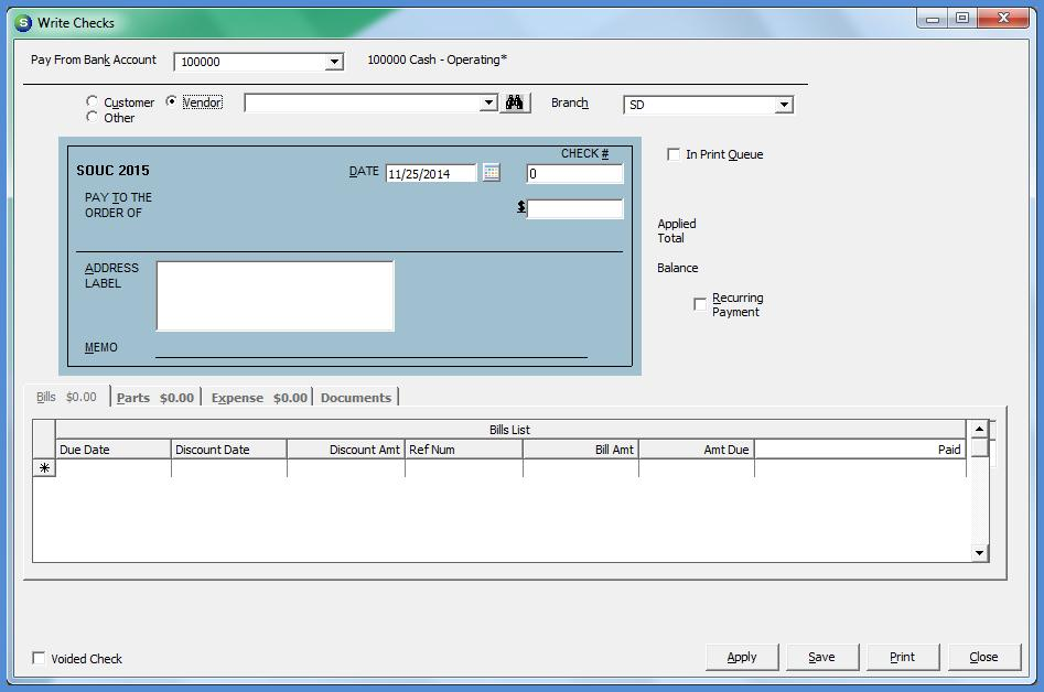 Write Checks One-off checks may be created by selecting the Write Checks option within the Accounts Payable module.
