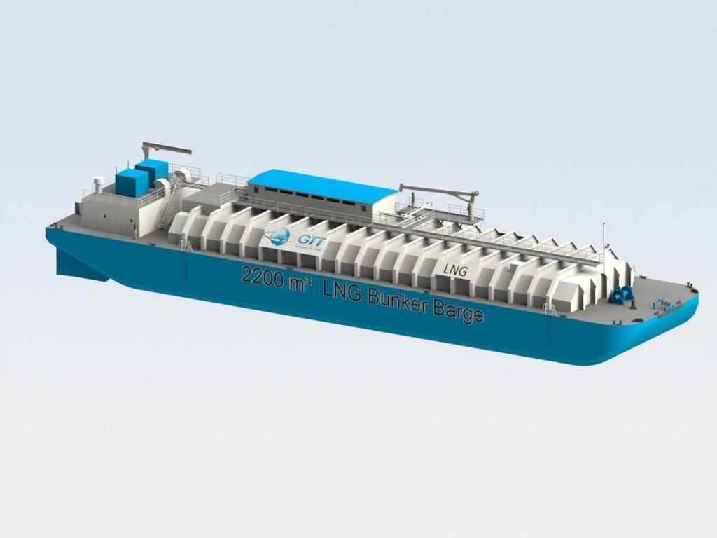GTT Membrane shallow draft bunker barge Source: http://www.