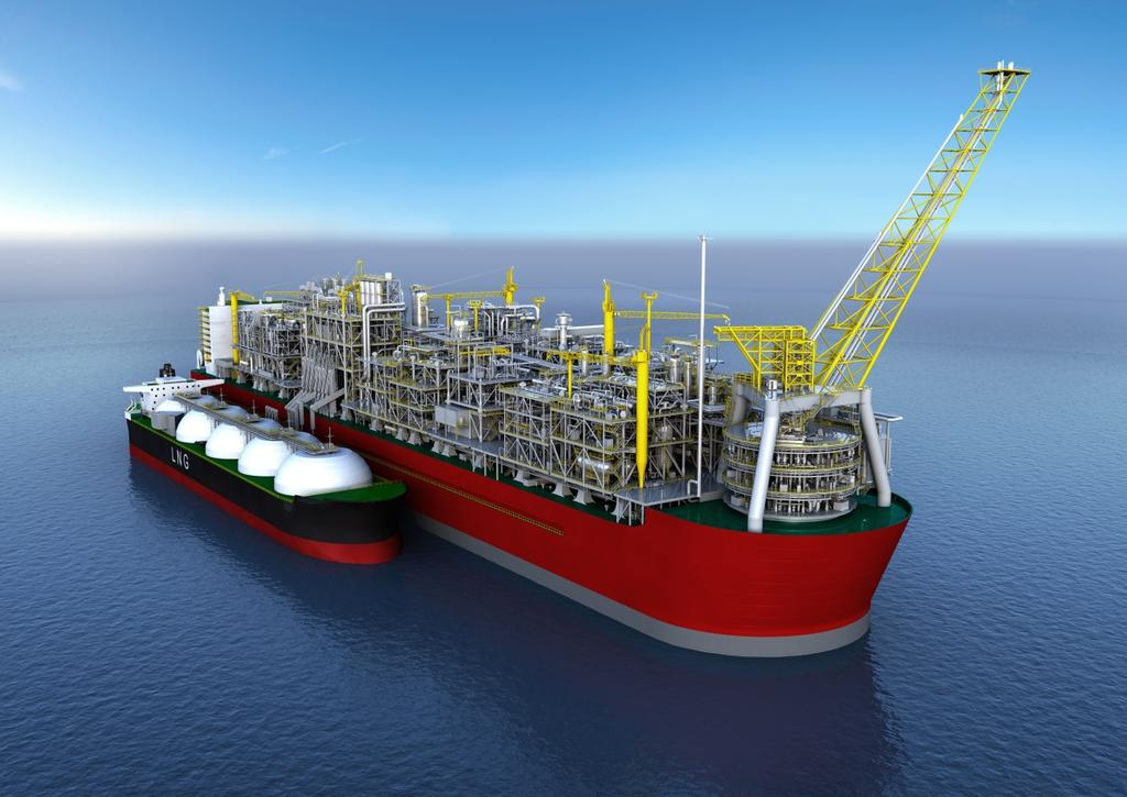 FLNG Overview Access stranded gas, using: Floating offshore or near shore structure permanently moored Subsea wells, via flowlines and risers (or other incoming supply)