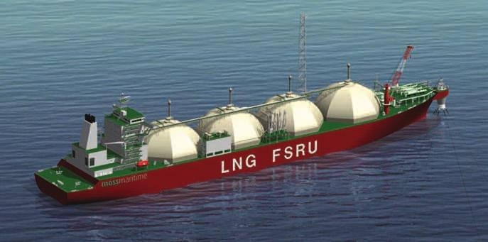 The FSRU consists of a steel monohull with Moss LNG tanks, regasification plant, turret and gas export facilities, and all necessary safety and crew facilities.