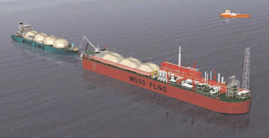 Floating Units Moss Floating LNG Liquefaction Units (FLNG) The Moss FLNG offers production, storage and off-loading of LNG on a single floating facility.
