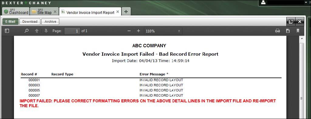 IMPORTING THE FILE The Vendor Invoice Import allows up to 5000 total import records (this includes header and details lines).