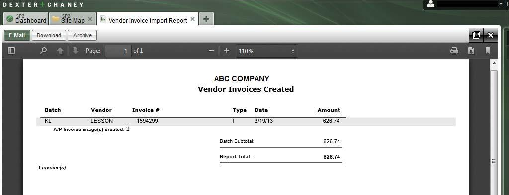 Report Examples Vendor Invoices Created Report This report shows you which invoices were created from the file that was imported.