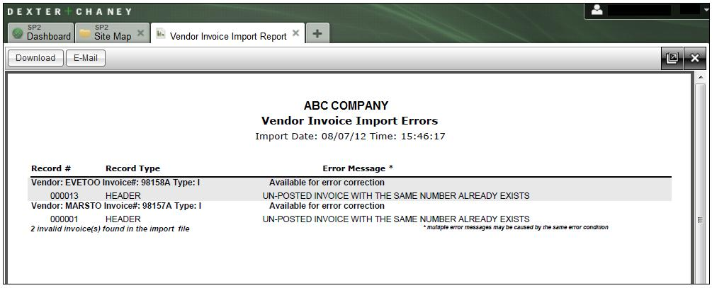 Vendor Invoice Import Errors Report This report provides you with a listing of the errors that occurred, which