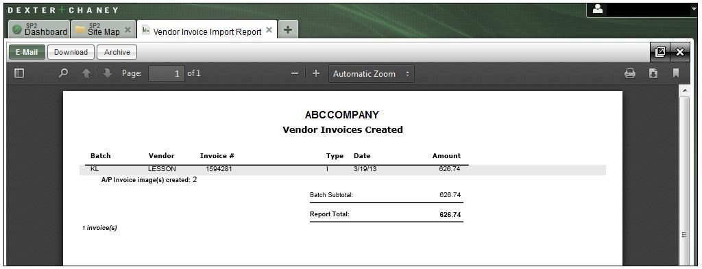 AFTER RECORDS ARE VALIDATED The Vendor Invoices Created report lists all of the invoice transactions that were successfully imported whether they are part of the initial import or after the errors