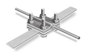 Cross connectors, for round conductors Ø 8 + 10 mm and earthing strip up to 30 mm width Art. No.