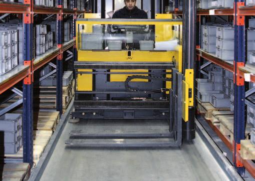 General features Guidance systems for tower-type forklift trucks Tower-type forklift trucks must be guided inside the storage aisles.