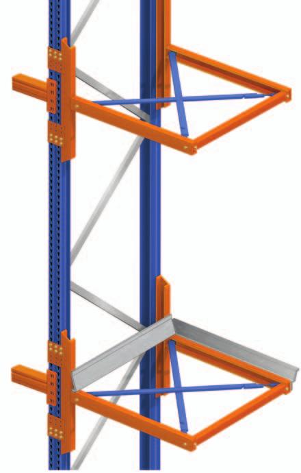 General features Brackets without centering devices Brackets with centering devices Entry brackets When the number of movements requires it, brackets are placed on the rack headers so that pallets