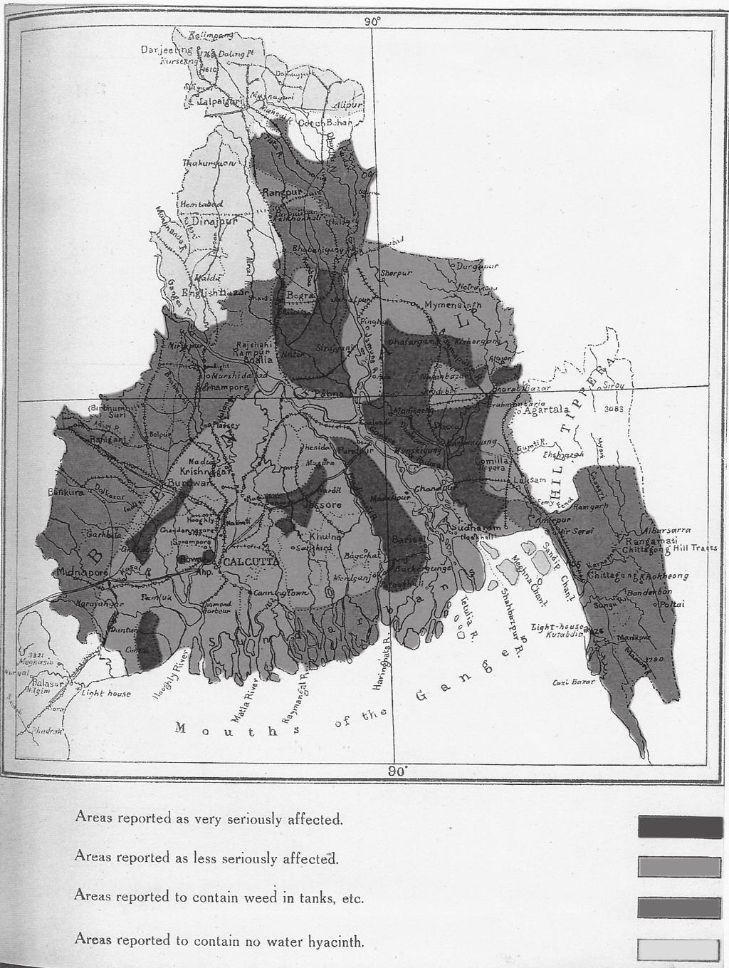 FIGHTING WITH A WEED 199 FIGURE 1. A map of Bengal showing areas affected by water hyacinth. Source: Kenneth McLean, Water Hyacinth.