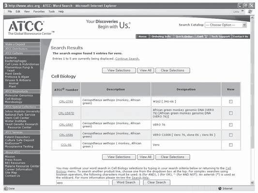 General Information How to Search the ATCC Website Other website resources In addition to listing the cell lines available from ATCC, the website is also a resource for technical literature, material