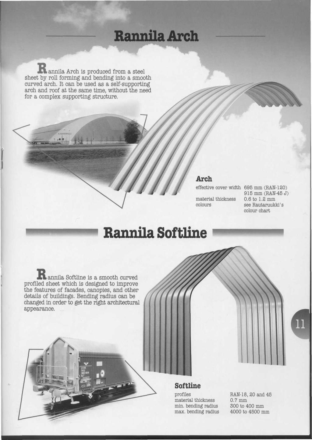 RanmlaArch > annila Arch, is produced from a steel sheet by roll forming and bending into a smooth curved arch.