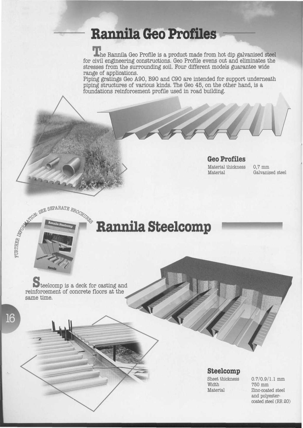 Rannila Geo Profiles he Rannila Geo Profile is a product made from hot dip galvanised steel for civil engineering constructions.