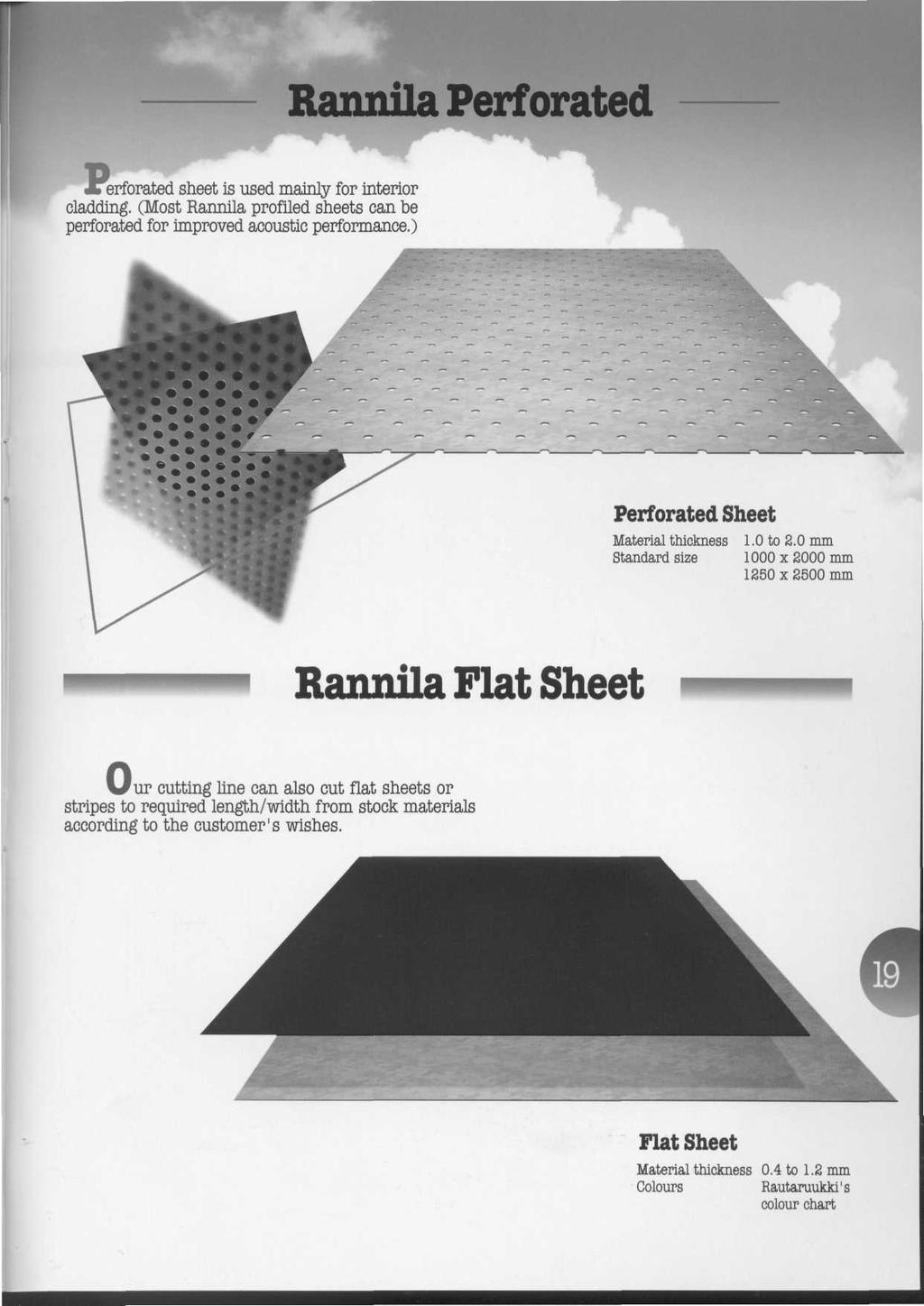 Rannila Perforated JTerforated sheet is used mainly for interior cladding. (Most Rannila profiled sheets can be perforated for improved acoustic performance.