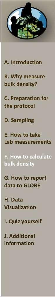 Bulk Density Calculation The GLOBE Field Guide provides a chart to assist you in keeping your