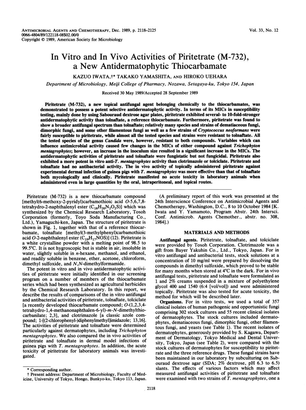 ANTIMICROBIAL AGENTS AND CHEMOTHERAPY, Dec. 1989, p. 2118-2125 Vol. 33, No. 12 0066-4804/89/122118-08$02.