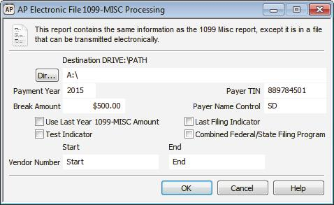 To print this report, select Reporting > Electronic 1099-MISC Report from the left navigation pane, enter the criteria for the report in the AP Electronic File 1099-MISC Processing window, and select