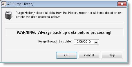 Figure 93: AP Purge History window 2 Select a cutoff date from the Purge through this date drop-down.