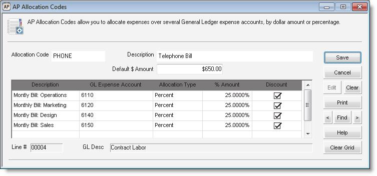 Figure 10: AP Vendors window, Aging tab Allocating Bills to Multiple Accounts (Allocation Codes) For bills that you routinely expense to several different General Ledger accounts (for example, when