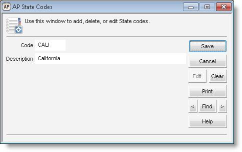 Figure 13: AP UDF Codes window, defining UDF Codes for State After you define all the codes you want to use, you can select them on the User-Defined tab of the AP Vendors window to add information