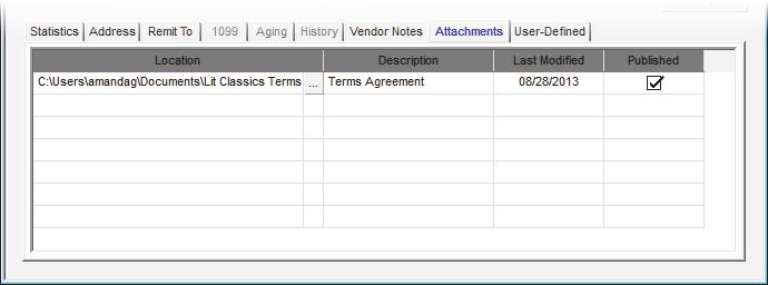 To attach a file: 1 In Accounts Payable, select Vendor Accounts > Add / Change Accounts from the left navigation pane. The AP Vendors window will open.