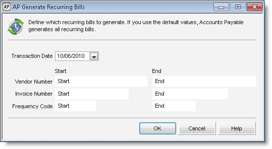 Figure 29: AP Generate Recurring Bills window 2 Use the fields in the window to specify the bills you want to generate.