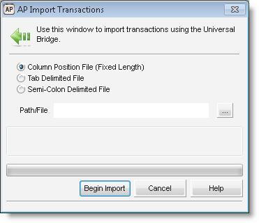 Importing Accounts Payable Transactions If you have Accounts Payable transactions in another software program, you might want to import them into Denali to avoid the time and risk of error of