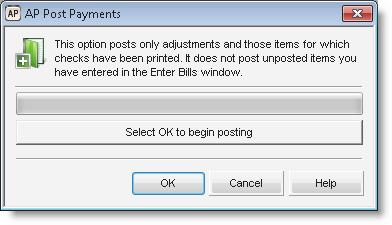 Figure 68: AP Post Payments window 2 Select OK to post. The posting process first validates all of the information to ensure it meets the posting criteria.
