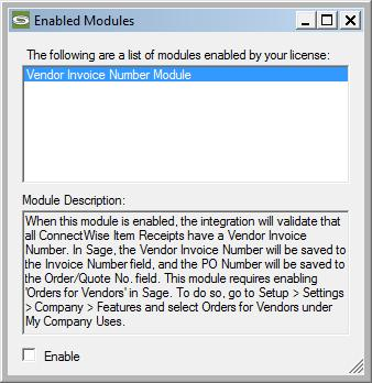 To enable/disable the Vendor Invoice Number module, on the integration s main window, go to Options > View