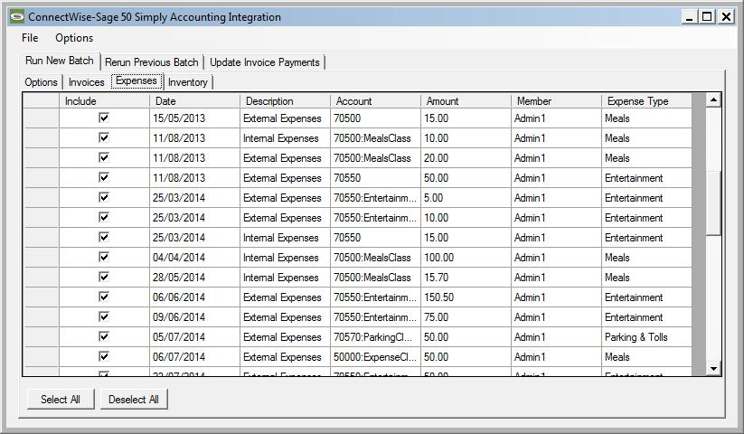 Selecting Specific Expenses By clicking on the Expenses tab, you can explicitly control which reimbursable expenses you want to include in the batch.