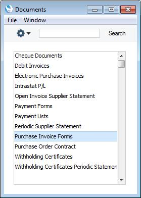 Enterprise by HansaWorld D (Mac OS X) keyboard shortcuts) and select Purchase Invoice Forms from the subsequent list.