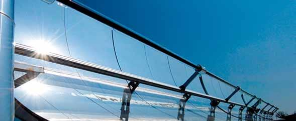 By using mirrors with their outstanding reflecting properties the performance can be increased significantly in concentrating parabolic systems (CSP) for the generation of solar thermal electricity,