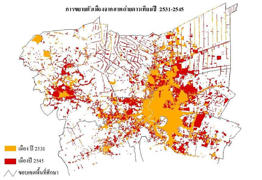 Bangkok Metropolis and Its Vicinity Satellite Image of Urban Area Expansion from 1988 to 2005 Pathumthani