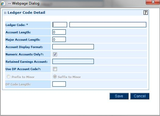 Module 2: Setting Up General Ledger 2. Click Ledger Codes, and then click Add to add a new record. Ledger Codes Format Setup 3. Complete the fields using the table below.