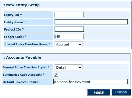 On the Setup Home Page, click General Ledger > Entities 2.