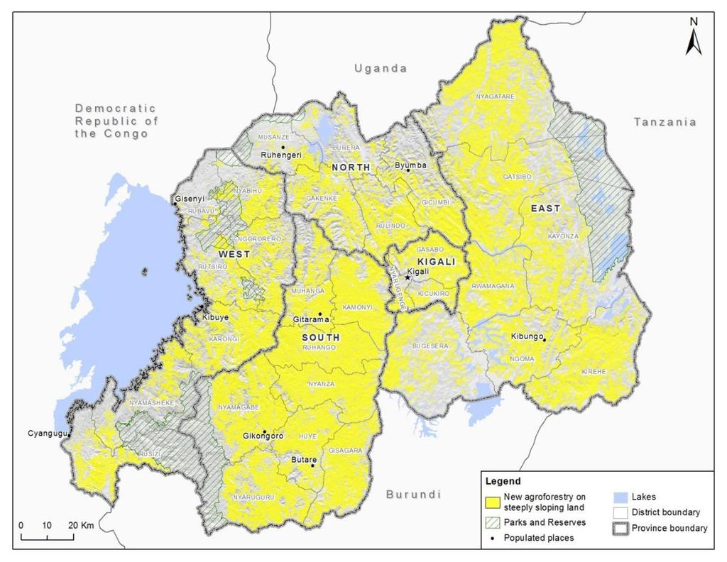 Rwanda s plan for restoration interventions West South Land use (ha) Rwanda Land that is: - agricultural -non-forested -sloping (5-55%).