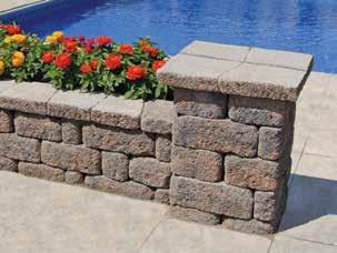 RETAINING WALLS Tan/Charcoal Country Manor 2-Piece Wall & Cap Keystone Country Manor 2-piece wall system brings the rustic charm of Old-World Europe to your landscape. The 6-in.