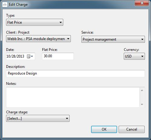 Charges 16 4. Make the desired changes and click OK. Delete a Charge To delete a Charge: 1. Click the Charges tab. Charges window appears. 2. Select Charges from the View drop-down list.