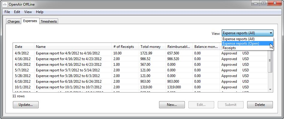 Expenses 22 Expenses Introduction to Expenses Use the Expenses tab and functionality to enter expense reports and receipts.