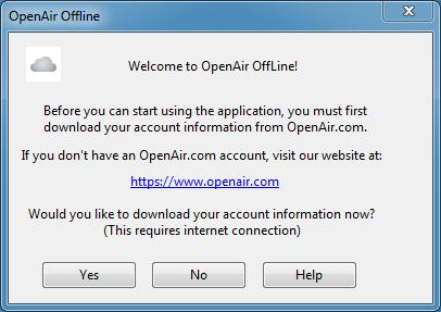 Getting Started 4 To download OpenAir Account information: 1. Click the OpenAir Offline icon. The following message prompts you to download account information. 2. Click Yes.