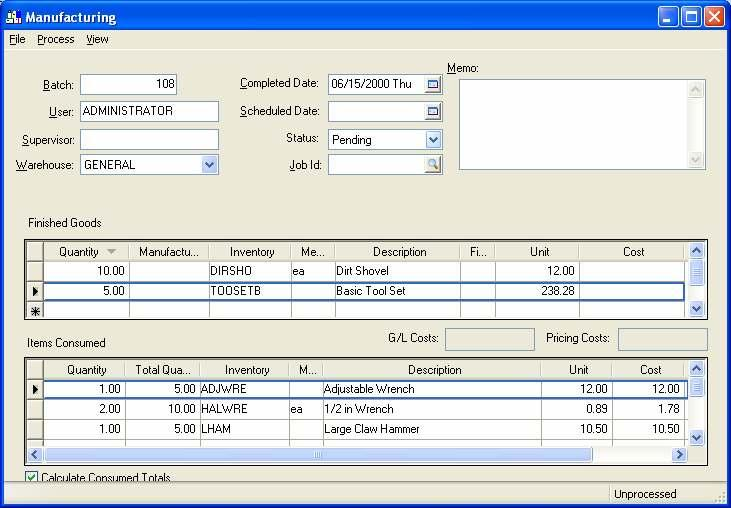 Eagle Business Management System - Manufacturing Purchasing the Required Materials The first step when purchasing materials for a batch is to enter the Finished Goods (items scheduled to be