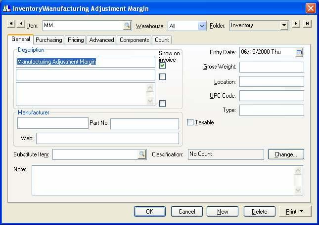 Complete the following steps to create an inventory adjustment item: a.